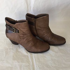 Ankle Boots with Buckle Design & Ruching in Taupe!
